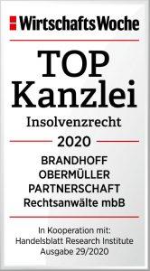 Wirtschaftswoche-Qualitätssiegel TOP-Kanzlei 2020